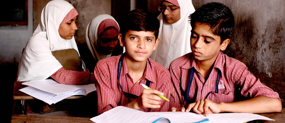 9th grade students Arsh Mansoori, Moin Khan Pathan at F.D. School, Juhapura, India
