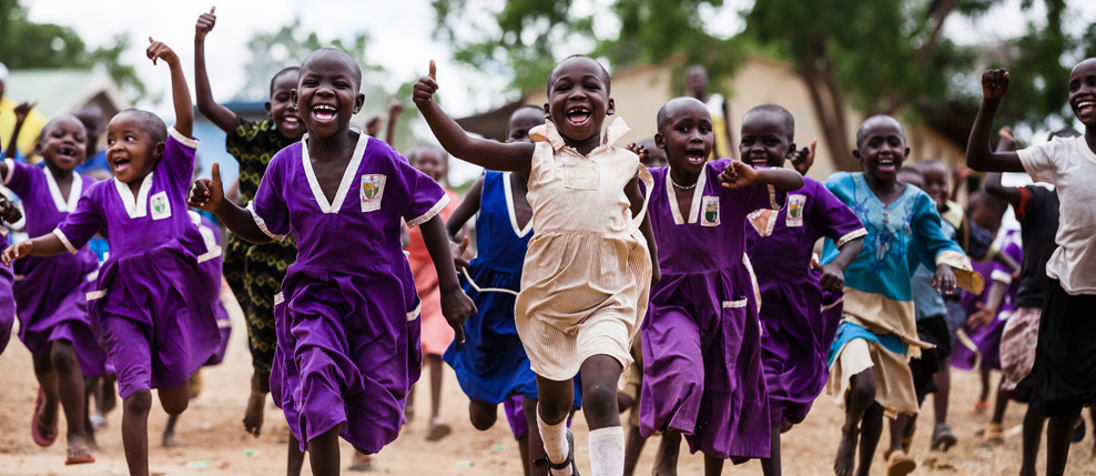 Nursery school children during a PE break at the Kalas Primary School, Uganda