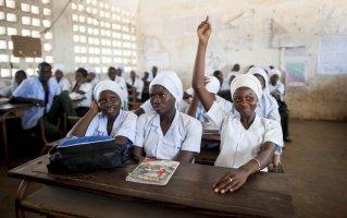Fatou L. Juwara, 16 years old, in class, in Gambia