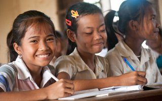 Pupils in their classroom in Cambodia