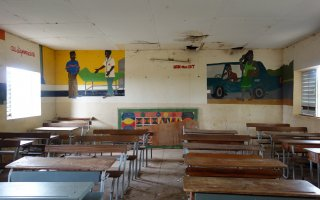 Empty school classroom in Senegal.