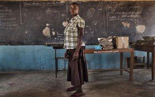 Pregnant student in school in Tanzania