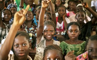 Students attend class at a public school in Taliko, a neighbourhood of Bamako